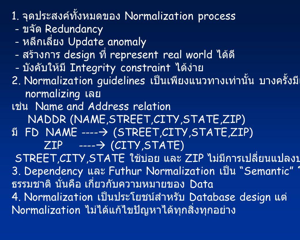1. จุดประสงค์ทั้งหมดของ Normalization process
