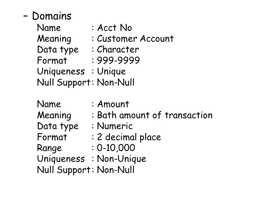 Domains Name : Acct No Meaning : Customer Account