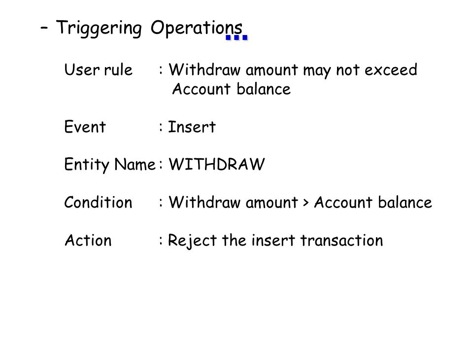 ... Triggering Operations User rule : Withdraw amount may not exceed