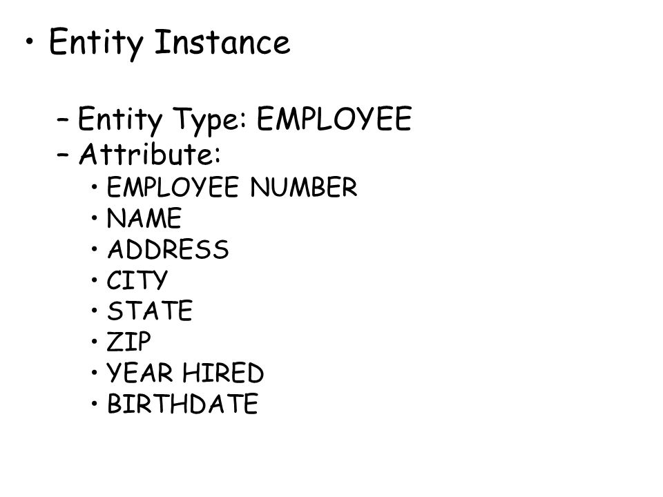 Entity Instance Entity Type: EMPLOYEE Attribute: EMPLOYEE NUMBER NAME