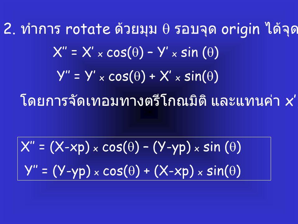 2. ทำการ rotate ด้วยมุม  รอบจุด origin ได้จุดใหม่ (x',y')