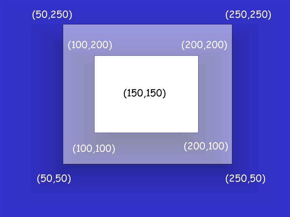 (50,250) (250,250) (100,100) (200,100) (200,200) (100,200) (150,150) (50,50) (250,50)