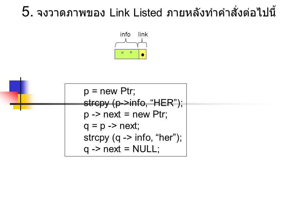 5. จงวาดภาพของ Link Listed ภายหลังทำคำสั่งต่อไปนี้