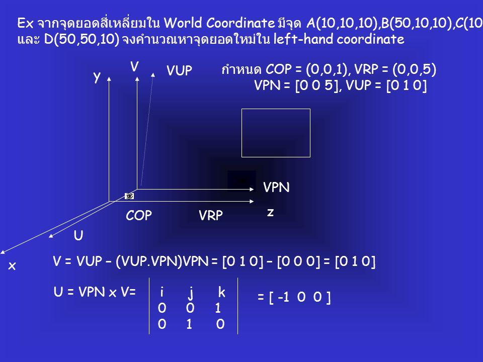 Ex จากจุดยอดสี่เหลี่ยมใน World Coordinate มีจุด A(10,10,10),B(50,10,10),C(10,50,10)