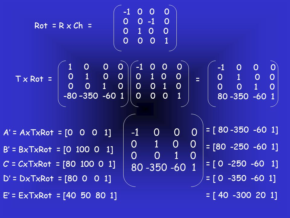-1 0 0 0 0 0 -1 0. 0 1 0 0. 0 0 0 1. Rot = R x Ch = 1 0 0 0.