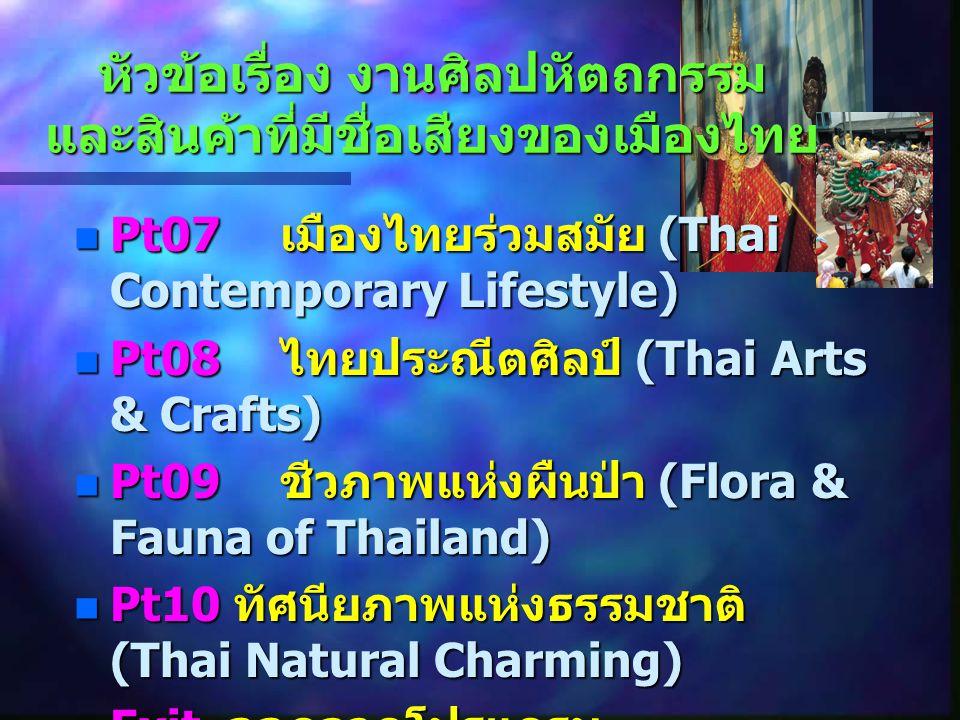 หัวข้อเรื่อง งานศิลปหัตถกรรม และสินค้าที่มีชื่อเสียงของเมืองไทย