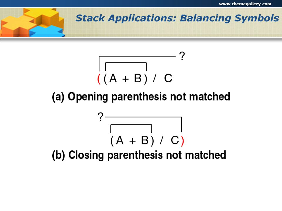Stack Applications: Balancing Symbols
