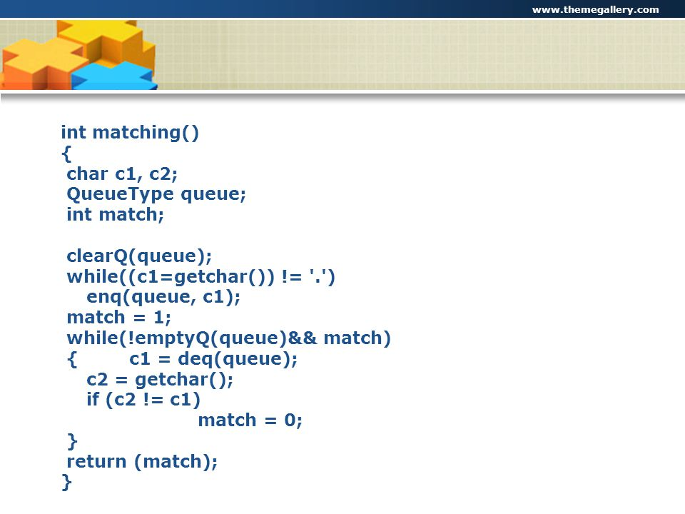 while((c1=getchar()) != . ) enq(queue, c1); match = 1;