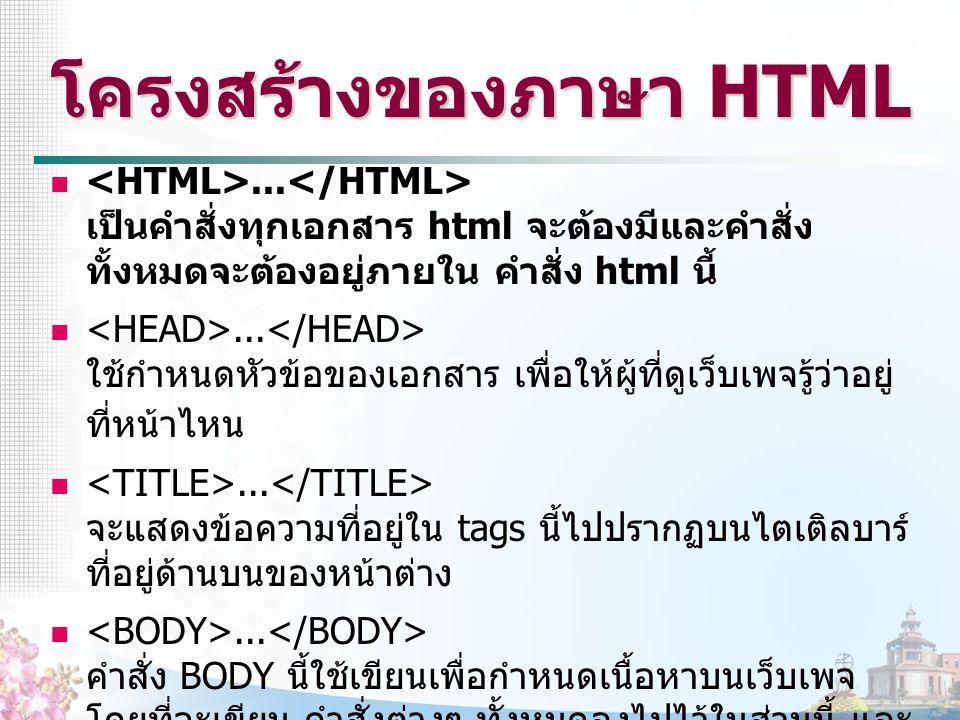 โครงสร้างของภาษา HTML