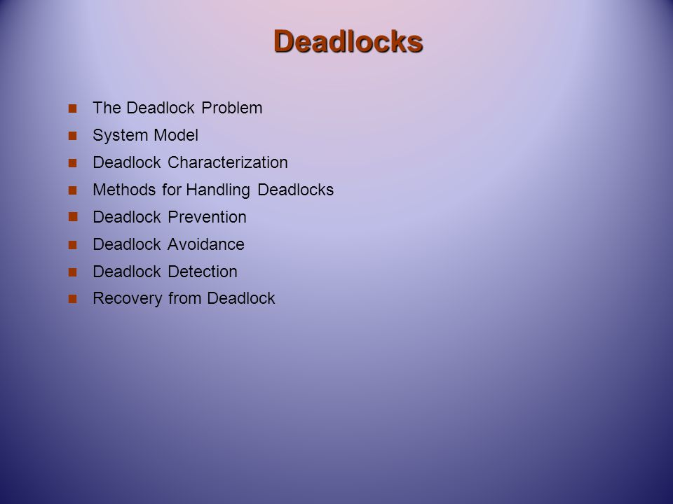 Deadlocks The Deadlock Problem System Model Deadlock Characterization