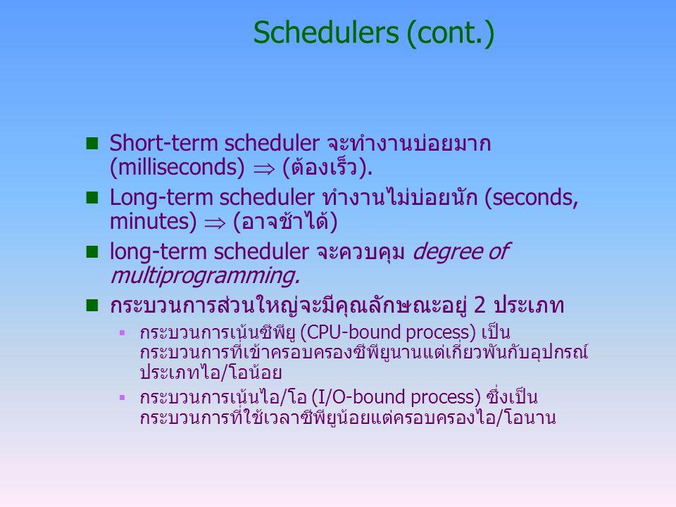 Schedulers (cont.) Short-term scheduler จะทำงานบ่อยมาก (milliseconds)  (ต้องเร็ว).