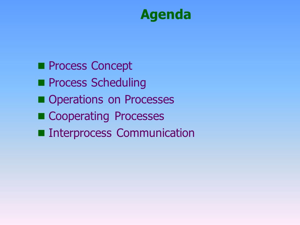 Agenda Process Concept Process Scheduling Operations on Processes
