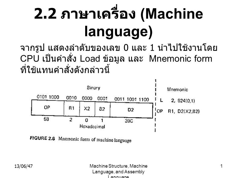 2.2 ภาษาเครื่อง (Machine language)