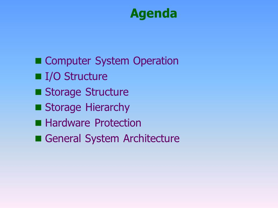 Agenda Computer System Operation I/O Structure Storage Structure