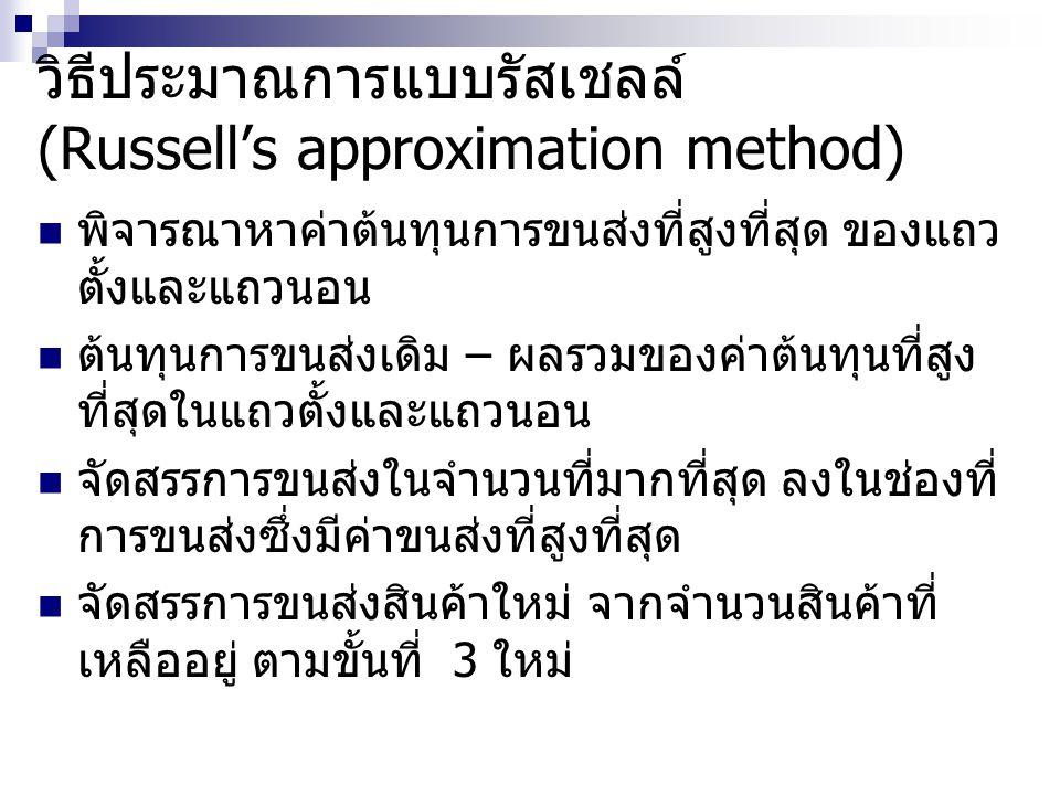 วิธีประมาณการแบบรัสเชลล์ (Russell's approximation method)
