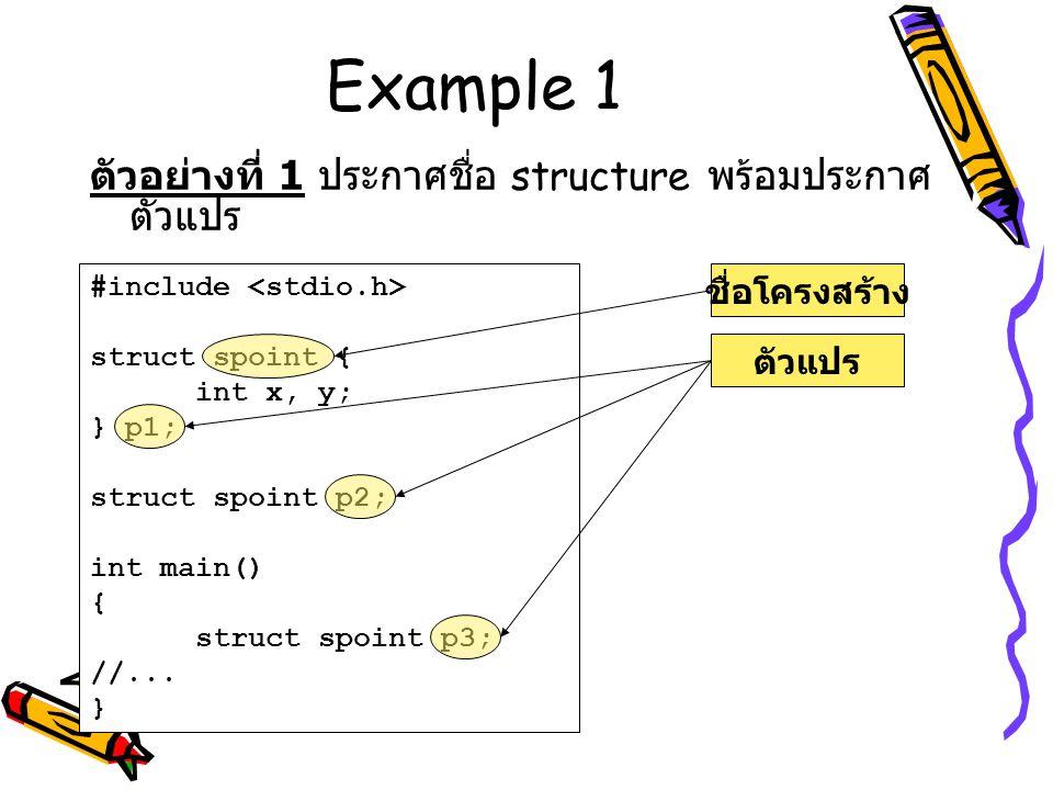 Example 1 ตัวอย่างที่ 1 ประกาศชื่อ structure พร้อมประกาศตัวแปร