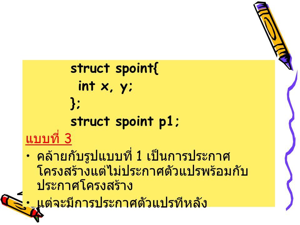 struct spoint{ int x, y; }; struct spoint p1; แบบที่ 3. คล้ายกับรูปแบบที่ 1 เป็นการประกาศโครงสร้างแต่ไม่ประกาศตัวแปรพร้อมกับประกาศโครงสร้าง.
