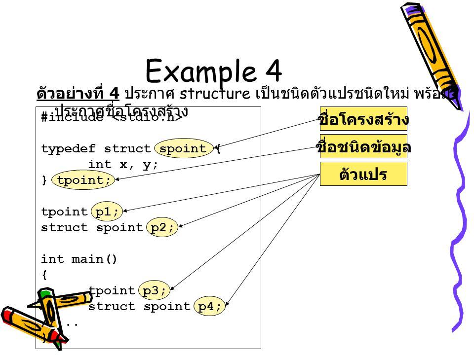 Example 4 ตัวอย่างที่ 4 ประกาศ structure เป็นชนิดตัวแปรชนิดใหม่ พร้อมประกาศชื่อโครงสร้าง. #include <stdio.h>