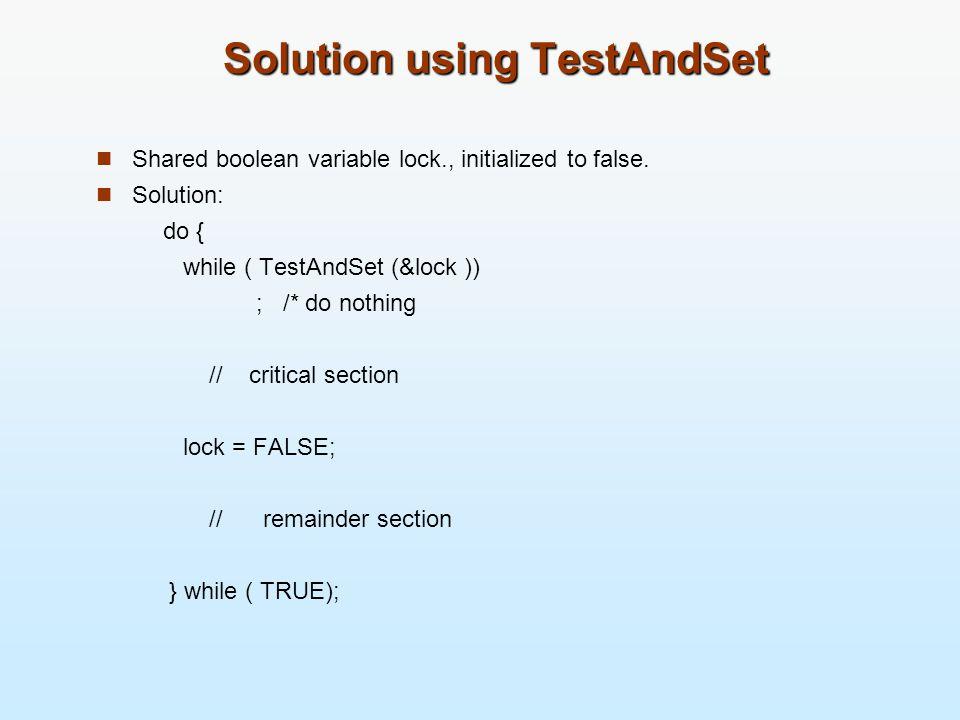 Solution using TestAndSet