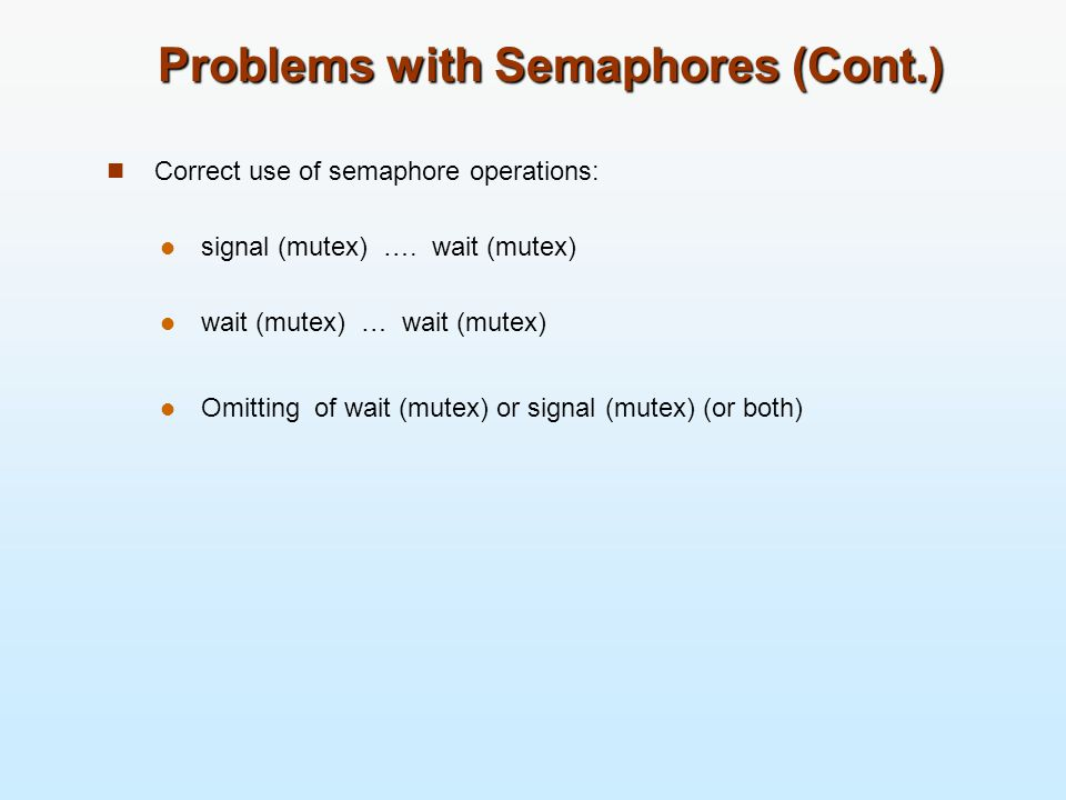 Problems with Semaphores (Cont.)