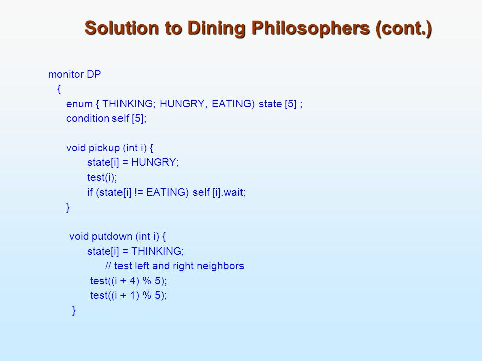 Solution to Dining Philosophers (cont.)