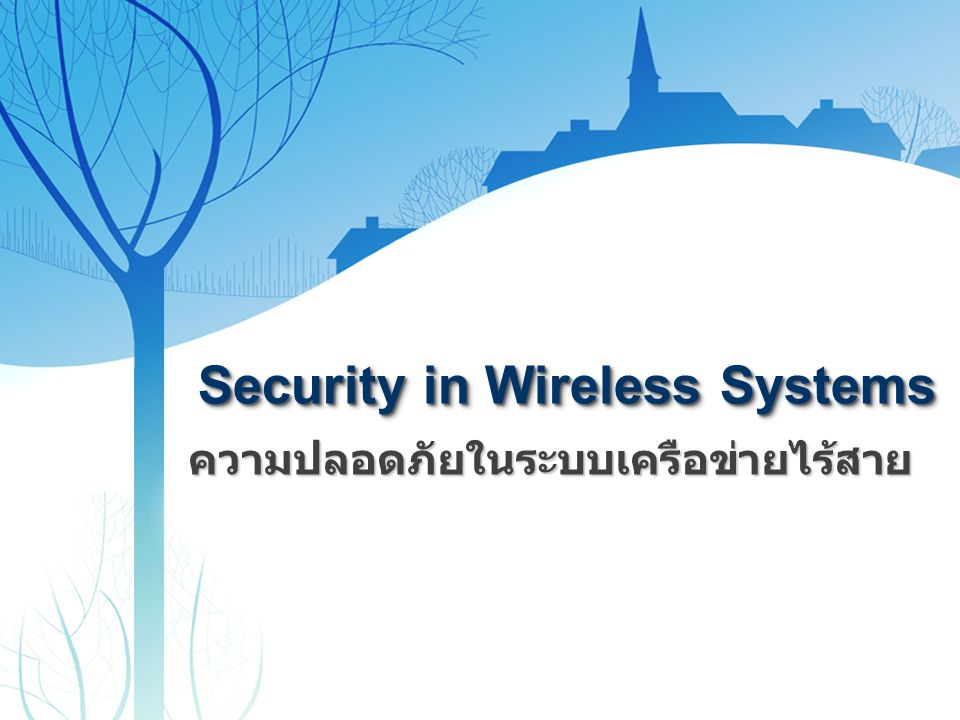 Security in Wireless Systems