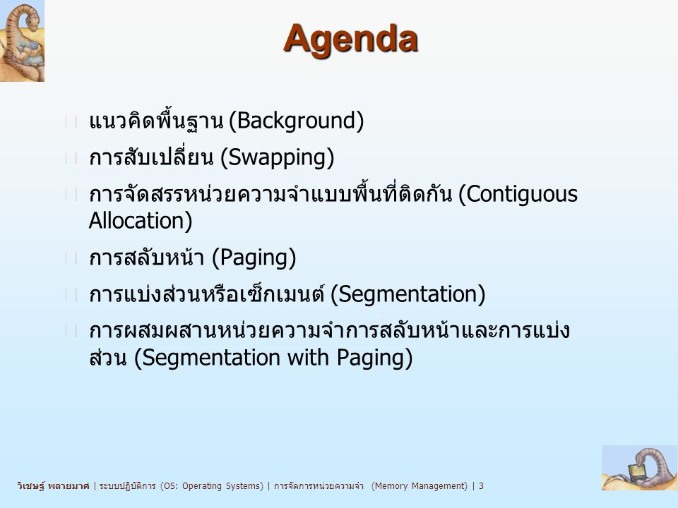 Agenda แนวคิดพื้นฐาน (Background) การสับเปลี่ยน (Swapping)