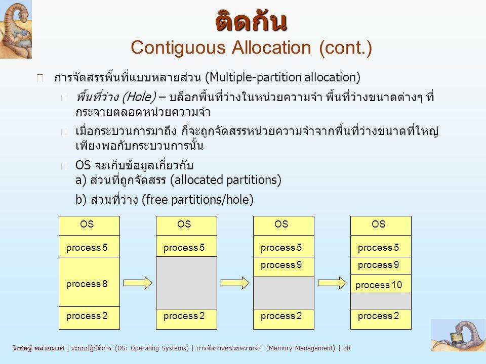 การจัดสรรหน่วยความจำแบบพื้นที่ติดกัน Contiguous Allocation (cont.)