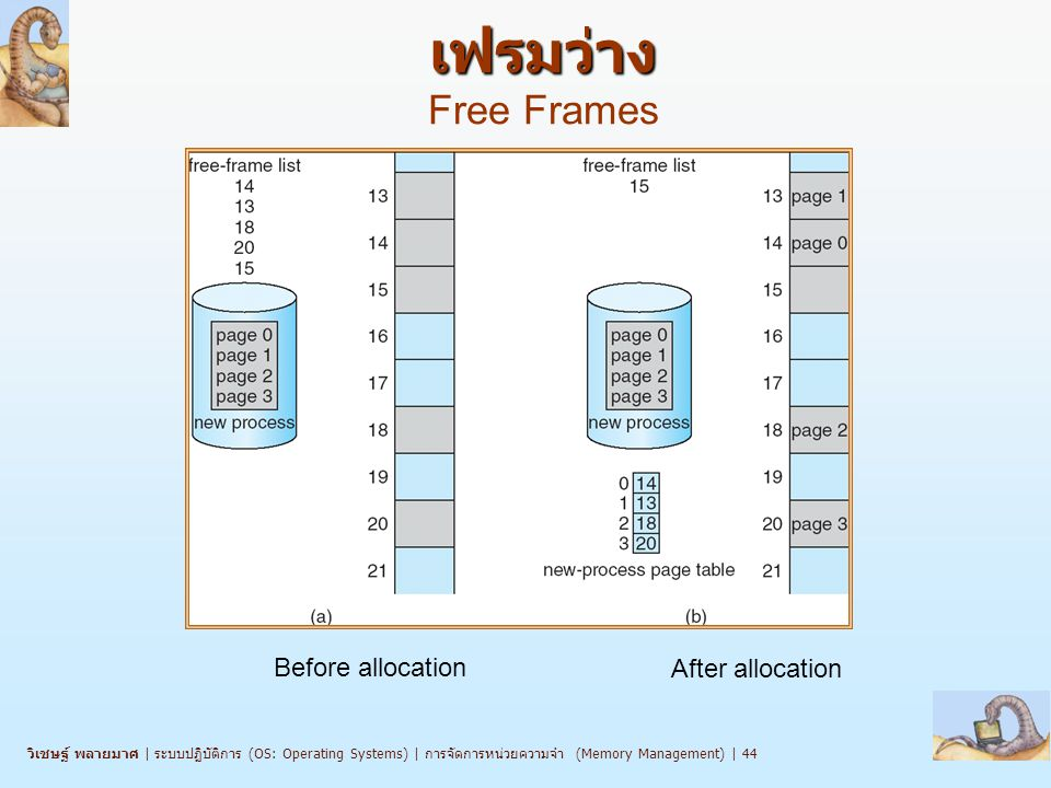เฟรมว่าง Free Frames Before allocation After allocation