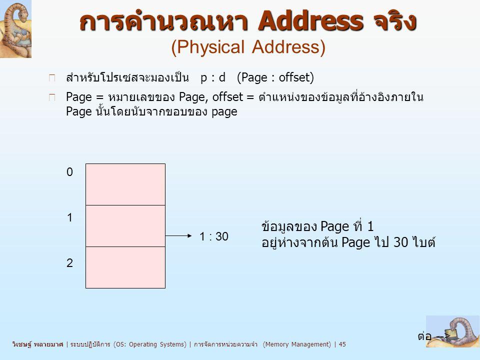 การคำนวณหา Address จริง (Physical Address)