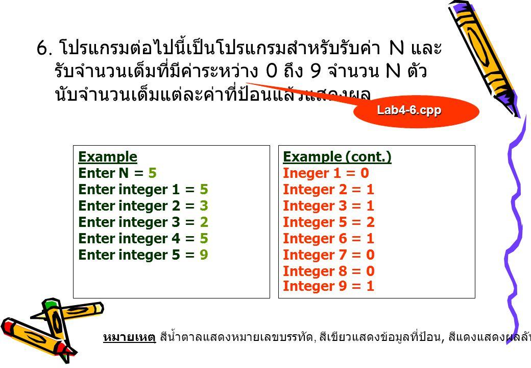 6. โปรแกรมต่อไปนี้เป็นโปรแกรมสำหรับรับค่า N และรับจำนวนเต็มที่มีค่าระหว่าง 0 ถึง 9 จำนวน N ตัว นับจำนวนเต็มแต่ละค่าที่ป้อนแล้วแสดงผล