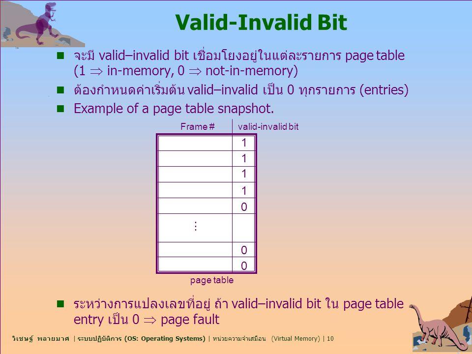 Valid-Invalid Bit จะมี valid–invalid bit เชื่อมโยงอยู่ในแต่ละรายการ page table (1  in-memory, 0  not-in-memory)