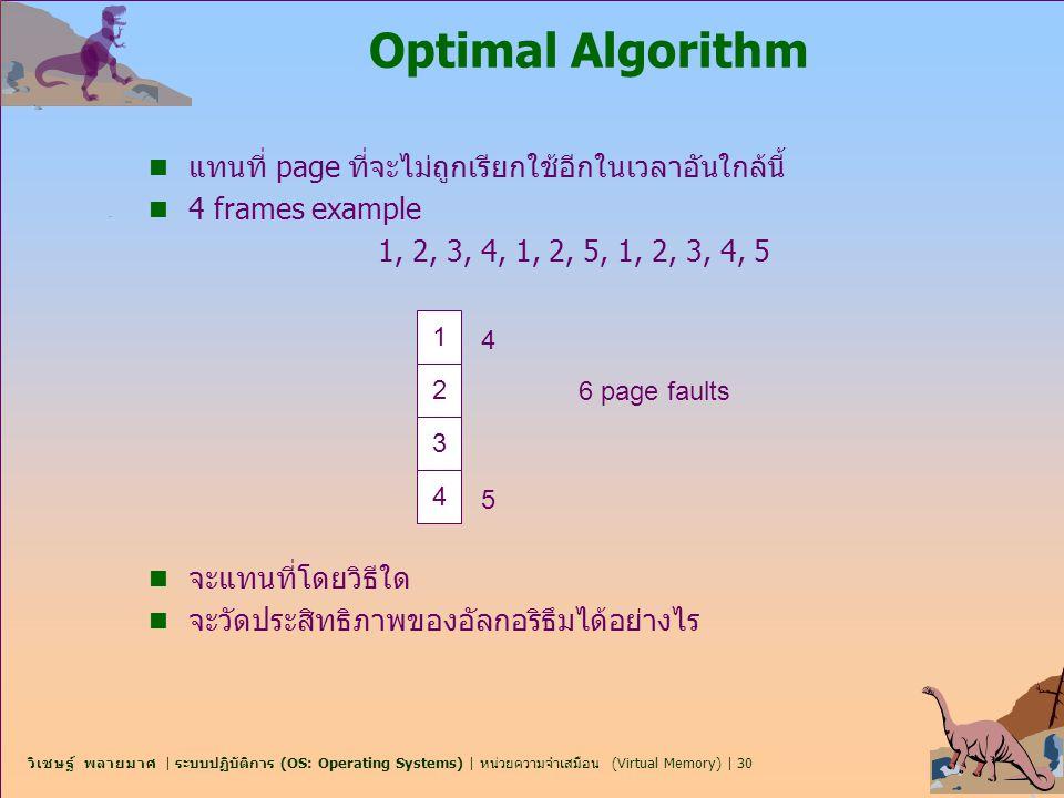 Optimal Algorithm แทนที่ page ที่จะไม่ถูกเรียกใช้อีกในเวลาอันใกล้นี้