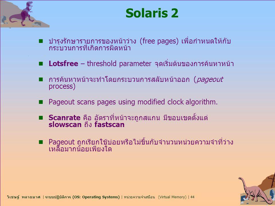 Solaris 2 บำรุงรักษารายการของหน้าว่าง (free pages) เพื่อกำหนดให้กับกระบวนการที่เกิดการผิดหน้า.