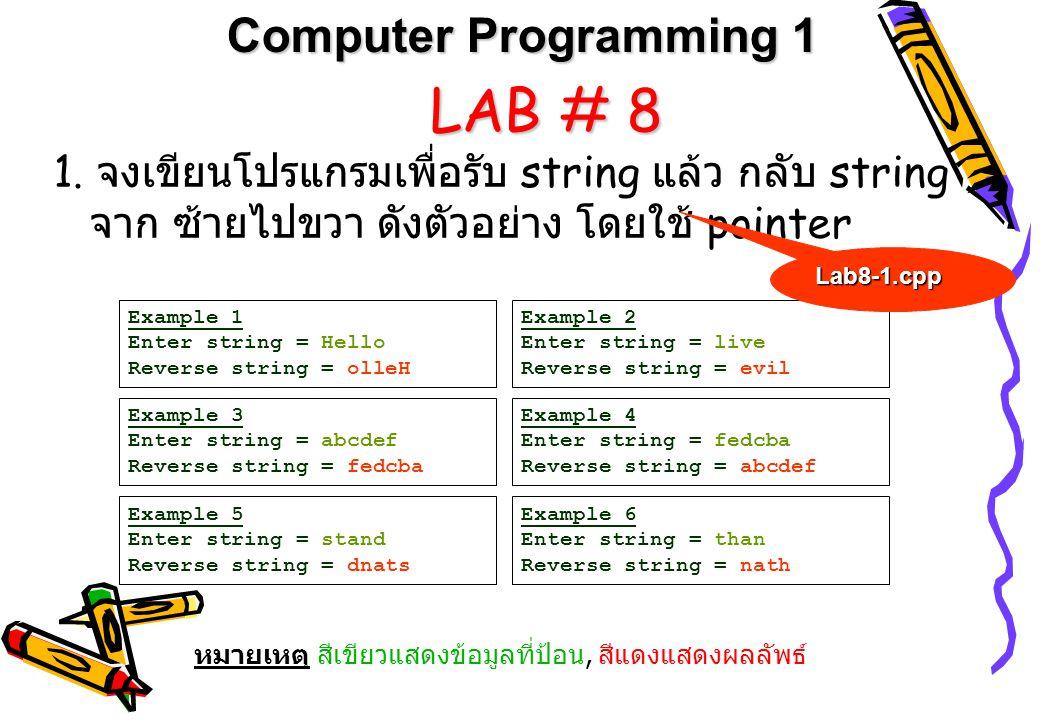LAB # 8 Computer Programming 1