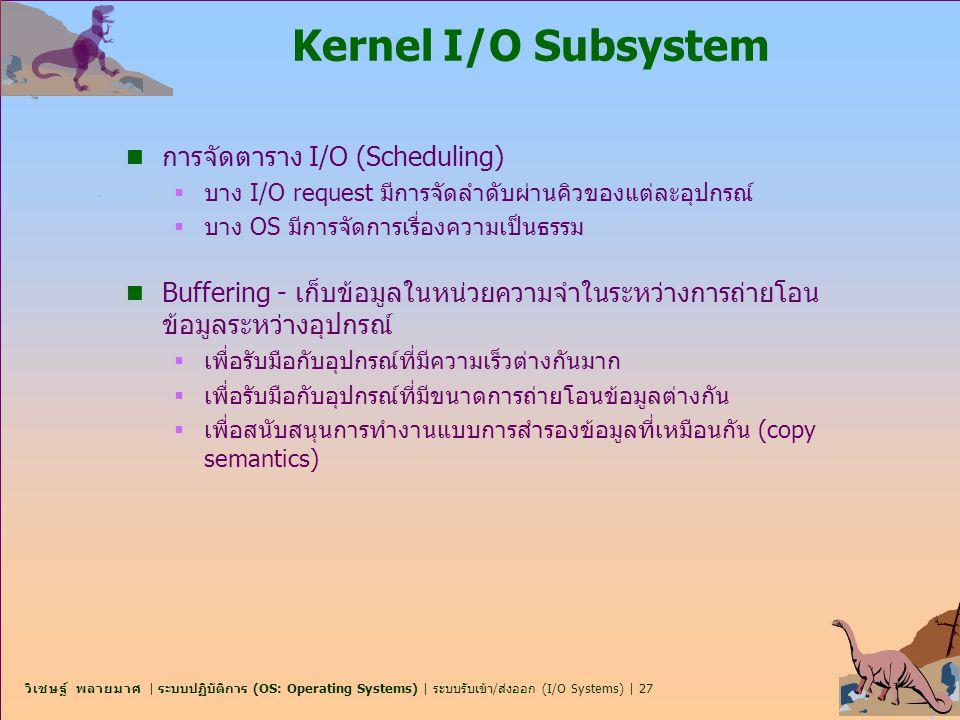 Kernel I/O Subsystem การจัดตาราง I/O (Scheduling)