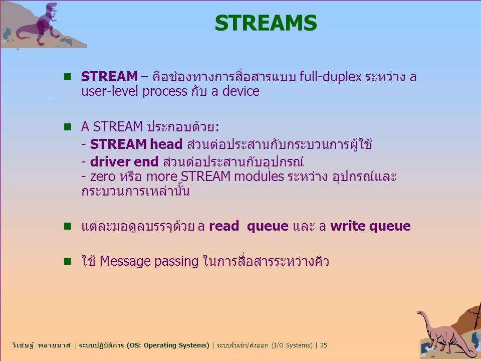 STREAMS STREAM – คือช่องทางการสื่อสารแบบ full-duplex ระหว่าง a user-level process กับ a device. A STREAM ประกอบด้วย: