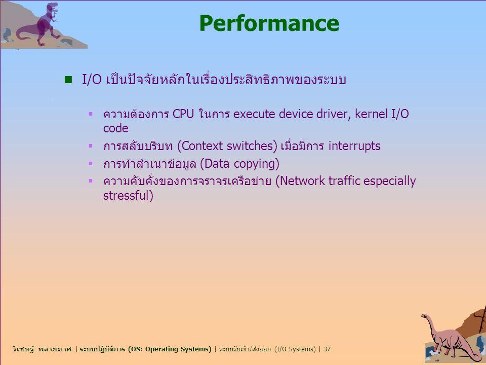 Performance I/O เป็นปัจจัยหลักในเรื่องประสิทธิภาพของระบบ