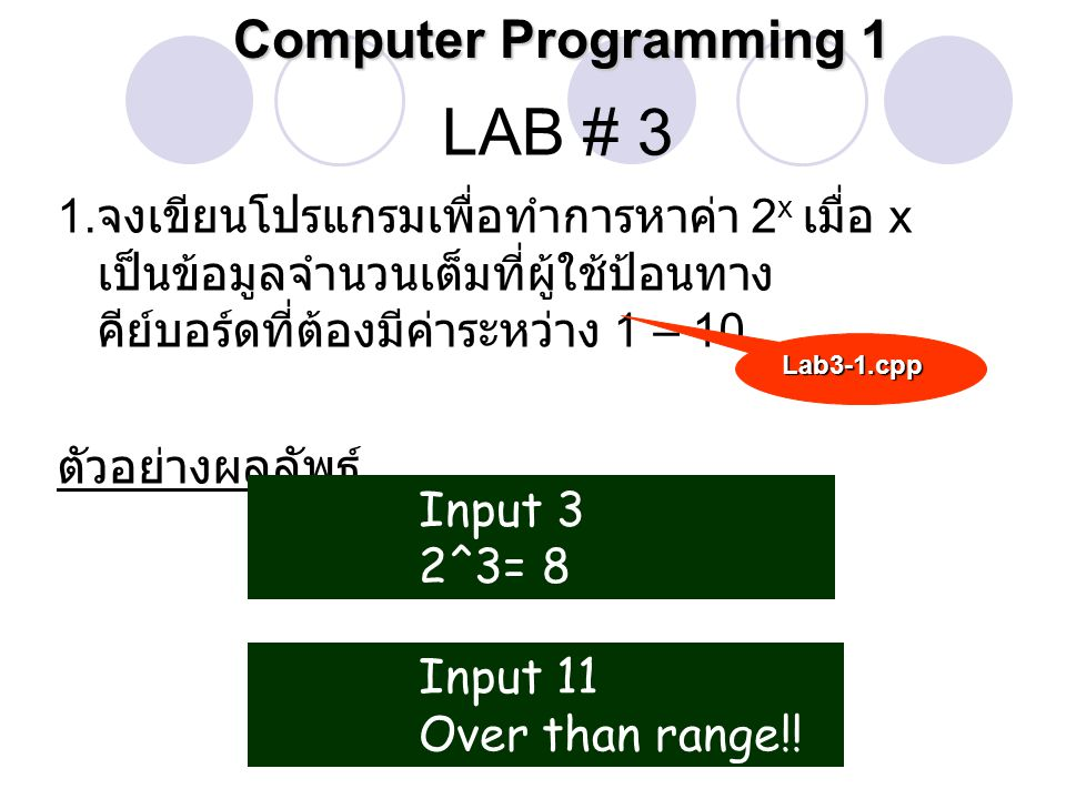 LAB # 3 Computer Programming 1