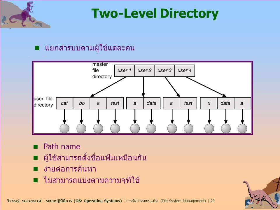 Two-Level Directory แยกสารบบตามผู้ใช้แต่ละคน Path name