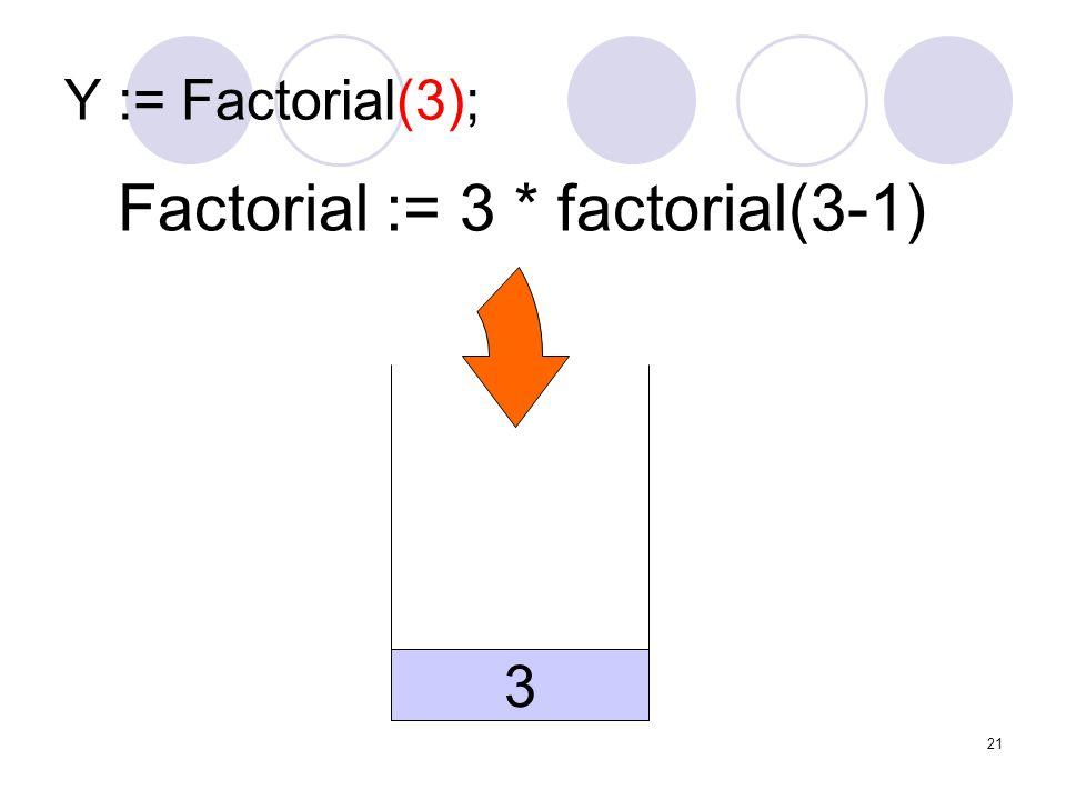Factorial := 3 * factorial(3-1)