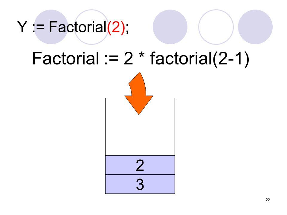 Factorial := 2 * factorial(2-1)