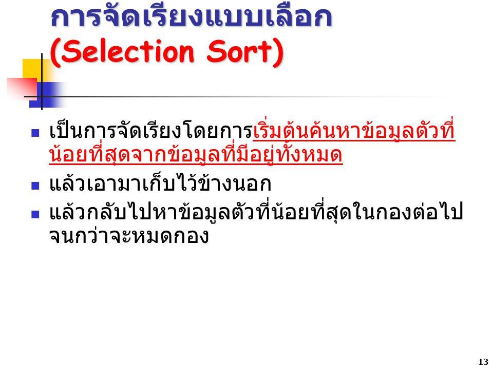 การจัดเรียงแบบเลือก (Selection Sort)