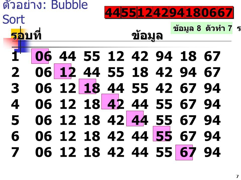 ตัวอย่าง: Bubble Sort 44. 55. 12. 42. 94. 18. 06. 67. ข้อมูล 8 ตัวทำ 7 รอบ. รอบที่ ข้อมูล.