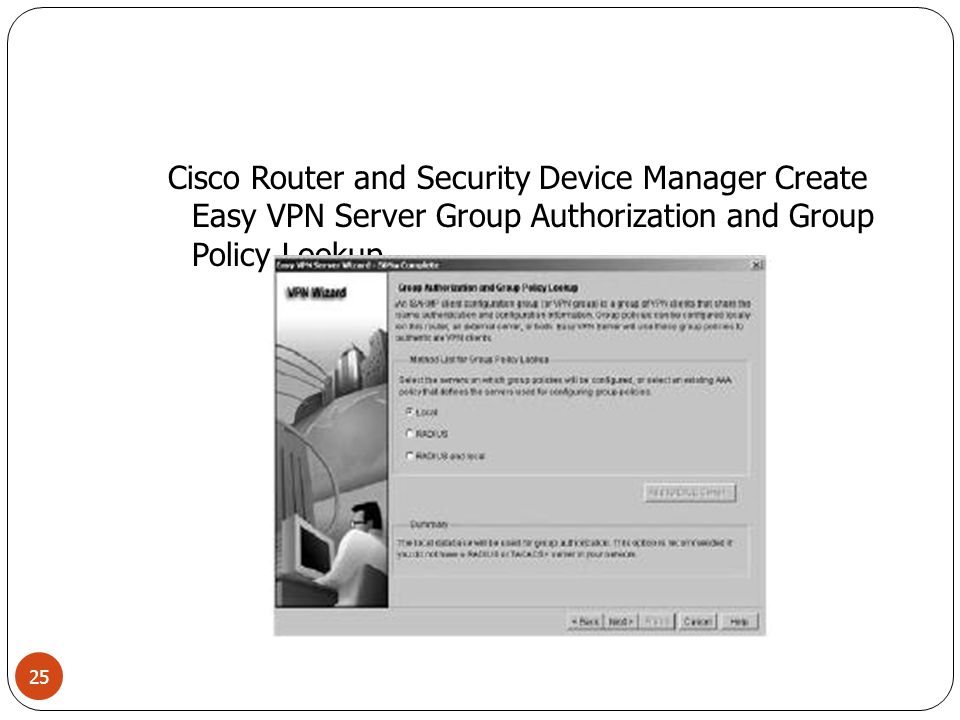 Cisco Router and Security Device Manager Create Easy VPN Server Group Authorization and Group Policy Lookup