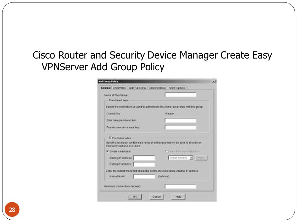 Cisco Router and Security Device Manager Create Easy VPNServer Add Group Policy
