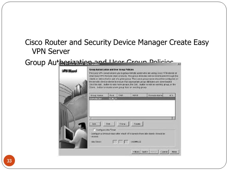 Cisco Router and Security Device Manager Create Easy VPN Server Group Authorization and User Group Policies