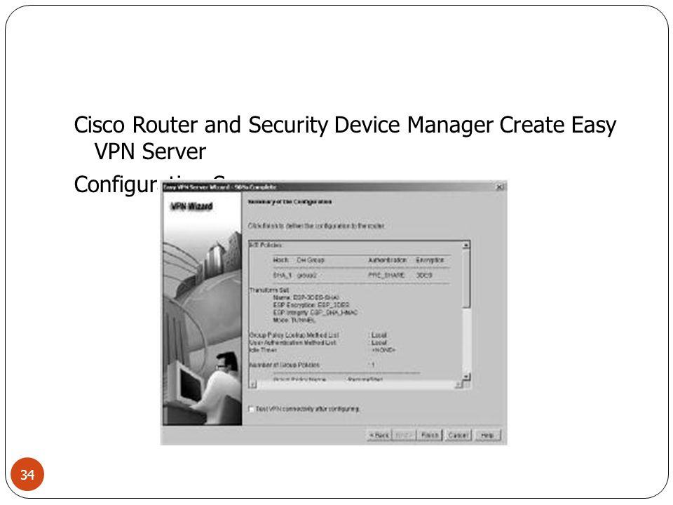 Cisco Router and Security Device Manager Create Easy VPN Server Configuration Summary