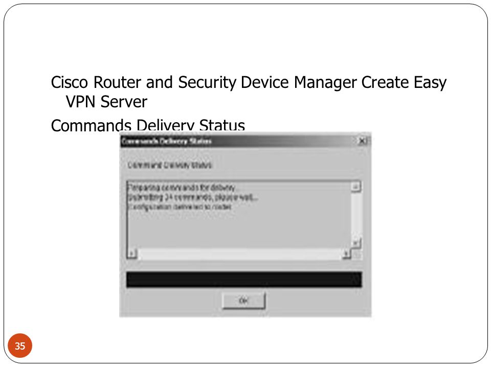 Cisco Router and Security Device Manager Create Easy VPN Server Commands Delivery Status