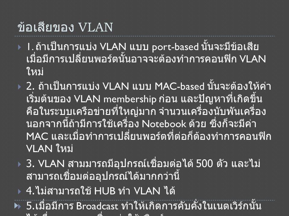 ข้อเสียของ VLAN 1. ถ้าเป็นการแบ่ง VLAN แบบ port-based นั้นจะมีข้อเสียเมื่อมีการเปลี่ยน พอร์ตนั้นอาจจะต้องทำการคอนฟิก VLAN ใหม่